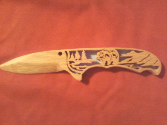 "Wood Carved"" Hunting Knifes."""