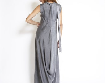 Summer evening dress, prom dress, gray, long sleeveless dress, loose fit, minimal style, bridesmaid dress, v neck, party, modern dress