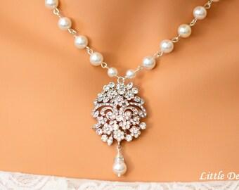 Pearl Rhinestone Bridal Necklace, Vintage Style Wedding Bridal Necklace, Pearl Necklace, Rhinestone Pendant Necklace, ELIZABETH