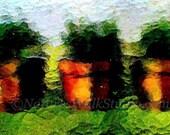 Greenhouse Window Digital Art, Window Flower Pots on Shelf Photograph