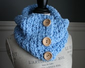 Baby Blue Versatile Scarf with 3 wooden buttons, crocheted
