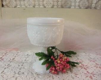 Vintage White or Milk Glass Goblet  B52