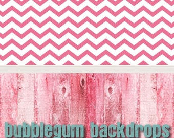 Pink-Chevron - Pink-Wood All in One - Vinyl Photography  Backdrop Photo Prop