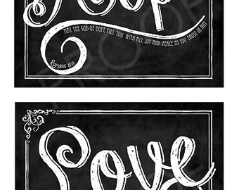 Scripture Chalk Art Prints (set of four) - Faith, Hope, Love and I Cor 13:13