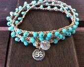 Yoga Crochet Beaded Om Bracelet Necklace