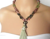 Semi Precious Tourmaline Gemstone Necklace with Big Sage Green Tassle and Skeleton Key Beaded Jewelry Semi Precious Pink and Green Necklace