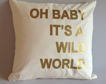 Pillow cover, gold pillow, Pillow case, throw pillow, romantic pillow case, pillows, 16x16, 18x18, 20x20, 24x 24, 26x26 inch, wild world