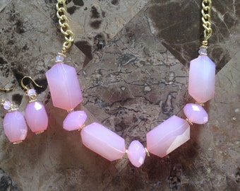 Pink Statement Necklace-Chunky-Prom-One of a Kind-Hand Made-Designs by Stalinda