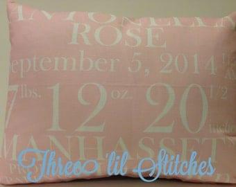 Birth Announcement Pillow baby gift birthday baby shower new baby baby girl baby boy baby chevron pillow custom pillow baby name neon pink