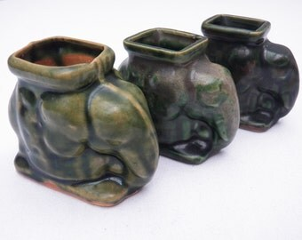 Set of 3 Green Glazed Ceramic Elephants Toothpick Holders Display Pieces Tiny Plant Holder Vintage Pottery Collectible Animal Trinkets