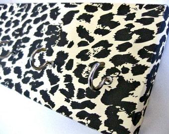 "Leopard Print Key Rack Leopard Jewelry Holder Black and White Animal Print Jewelry Organizer Jewelry Hanger Key Organization ""Leopard"""