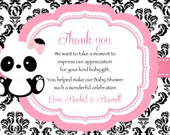 Baby Panda -Baby Shower Thank you card Damask pattern- Printable File