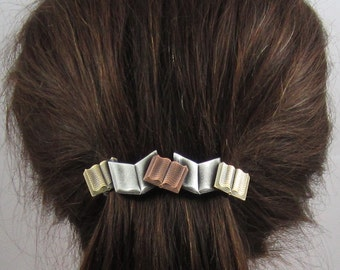 Books French Barrette 80mm- Book Lover Gift- Hair Accessories- Hair Clips- Teacher Gift