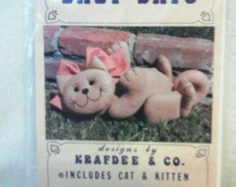 """UNCUT """"Lazy Days"""" Sewing Pattern by Krafdee & Co...Playful Cat and Kitten"""
