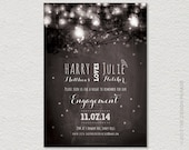 PRINTABLE Fairy Lights Engagement Invitation. String lights, Garden party.