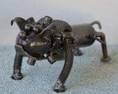 Hand Made BULLDOG 4 Inches  Recycled Scrap Metal - Dog