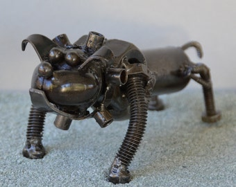 Hand Made BULLDOG 4 Inches  Recycled Scrap Metal - Dog