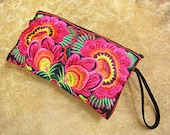 Exotic Blooms Hmong Clutch Purse Hill Tribe fabric Vintage fabric Exotic Pink with Black