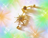 SALE-FIRST ORIGINAL Belly Ring, The Mighty Gold Crystal Sun, Belly Button Ring, Most Popular Belly Button Jewelry For women or Teens