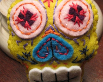 Sugar Skull, felted wool, embroidered, Halloween, colorful, hanging ornie