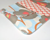 Cosmetic Pouch - Blue Grey Red Floral Clutch Bag - Small Pouch