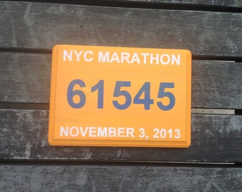 Hand painted Marathon Finisher Bib Number plaque