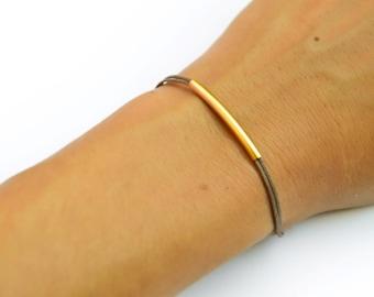 Gold bar bracelet, cord bracelet, gold tube bar, brown cord. elegant bracelet. brown stack bracelet, gift for her, minimalist jewelry