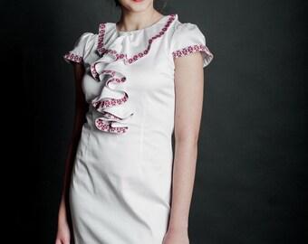Fashion embroidered dress. Ukrainian Women's dress. 100% Cotton, white