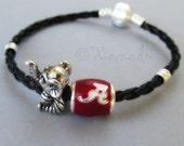 Alabama Crimson Tide Big Al European Charm Bracelet - University Of Alabama Football Team Beads On Black Leather European Charm Bracelet
