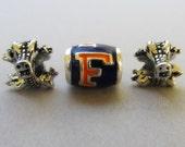 Florida Gators Logo And Mascots European Beads Trio - University Of Florida Football Team Charms For All European Charm Bracelets