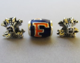 Florida Gators Logo And Mascots European Beads Trio - University Of Florida Football Team Charms For All European Charm Bracelets