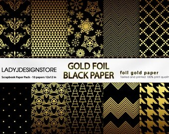 GOLD FOIL Digital Paper Metallic - 10 Digital Scrapbook Papers, Gold Foil Holiday, Christmas Paper,