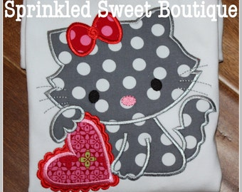 Valentines Kitty Applique Shirt