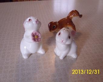 Sweet Little Porcelain Bunny Rabbit Salt & Pepper Shakers-Brazil
