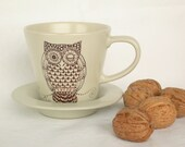 brown owl tea coffee cup and saucer , hand painted, day release - madrab