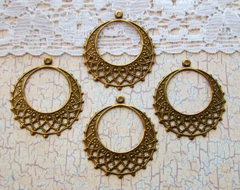 Lacey Antiqued Brass Filigree Gypsy Hoop Chandelier Earring Findings Dangles  - 4