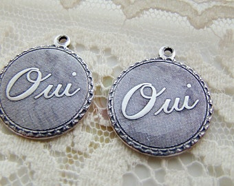 Romantic Antiqued Silver Ox Oui Yes  Charm Word Pendant 19mm Round - 4