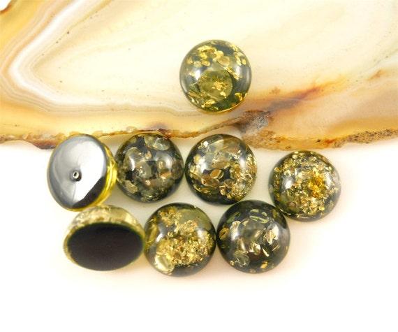 Natural Baltic Amber cabochon  - green  - 8mm round cabochon - 1 pic