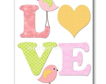 Rose Pink Love Nursery Kids Wall Art Kids Art Baby Girl Nursery Decor Baby Nursery Print Girl Children Art Print Girl Art Bird Yellow