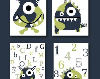 Monster Nursery Alphabet Nursery Numbers Baby Art Kids Art Baby Boy Nursery Wall Art Baby Boy Room Decor Kids Room Decor set of 4 Navy