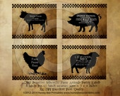 Prim Farm Animals Cow Pig Sheep Chicken Pantry Farmhouse Labels Logo - Printable Digital JPEG - Instant Download -For Crocks Jars Canisters