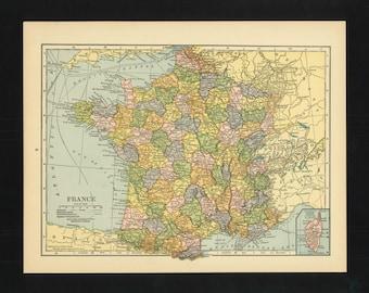 Vintage Map France From 1926 Original