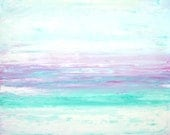 Glimmer, 2014 - Original Acrylic Artwork Modern Contemporary Abstract Painting Wall Decor Free Shipping Turquoise Pink White 11x14 Paper