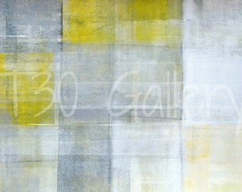 Quick Glance, 2013 - Original Acrylic Artwork Modern Contemporary Abstract Painting Wall Decor Free Shipping Grey Yellow White 11x14 Paper