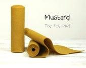 "Wool Felt Roll in color MUSTARD - 100% Wool Felt - 5"" X 36"" Wool Felt - Yellow Felt"