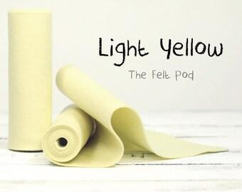 """100% Wool Felt Roll in Color LIGHT YELLOW - 5"""" X 36"""" Wool Felt Roll - European Wool Felt"""