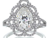 White Gold Vintage Victorian Design Pear Shape Moissanite Diamond Halo Engagement Bridal Anniversary RHR Ring