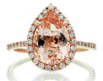LARGE Version 14K Rose Gold 12x8 mm Pear Cut Morganite Engagement Ring Shape Diamond Halo Alternative Engagement Solitaire Anniversary Ring