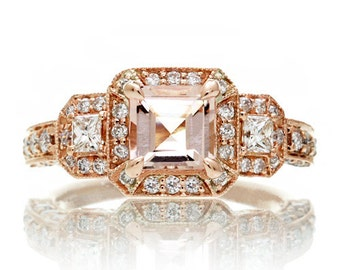18 Karat Gold Vintage Three Stone Design with Princess Cut Accents Step Cut Asscher Morganite Diamond Ring
