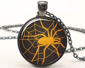 Halloween Necklace, Spider Web Pendant, Spooky Black Goth Jewelry (1722G1IN)